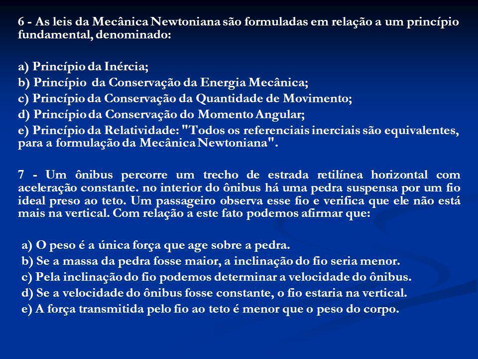 6 - As leis da Mecânica Newtoniana são formuladas em relação a um princípio fundamental, denominado: