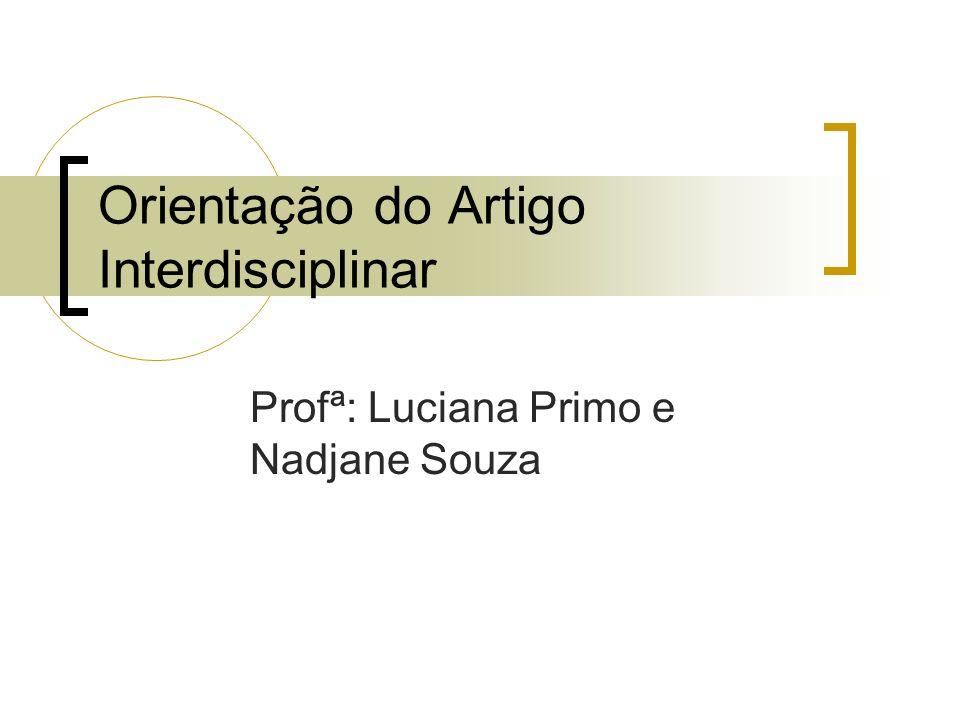 Orientação do Artigo Interdisciplinar