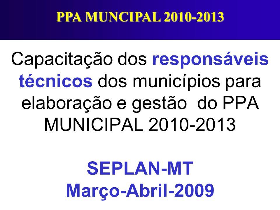 Capacitação dos responsáveis técnicos dos municípios para elaboração e gestão do PPA MUNICIPAL 2010-2013 SEPLAN-MT Março-Abril-2009