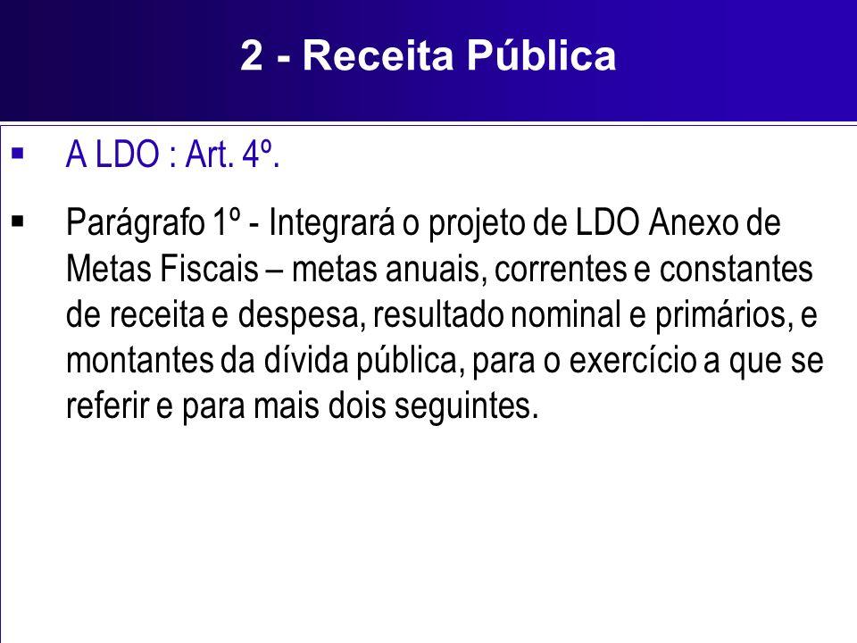 2 - Receita Pública A LDO : Art. 4º.