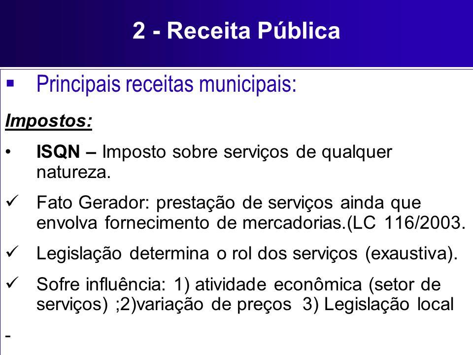 Principais receitas municipais: