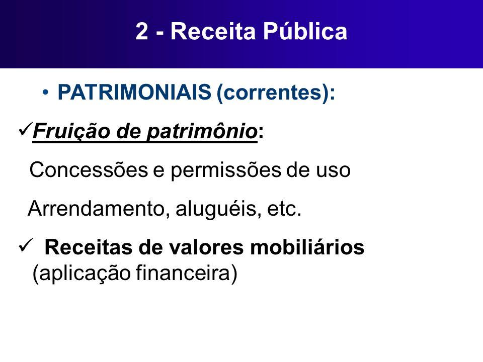 2 - Receita Pública PATRIMONIAIS (correntes): Fruição de patrimônio: