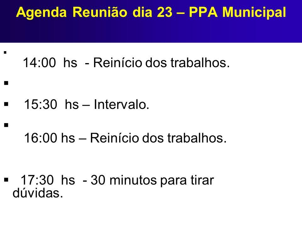 Agenda Reunião dia 23 – PPA Municipal