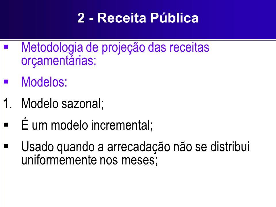 2 - Receita Pública Metodologia de projeção das receitas orçamentárias: Modelos: Modelo sazonal; É um modelo incremental;