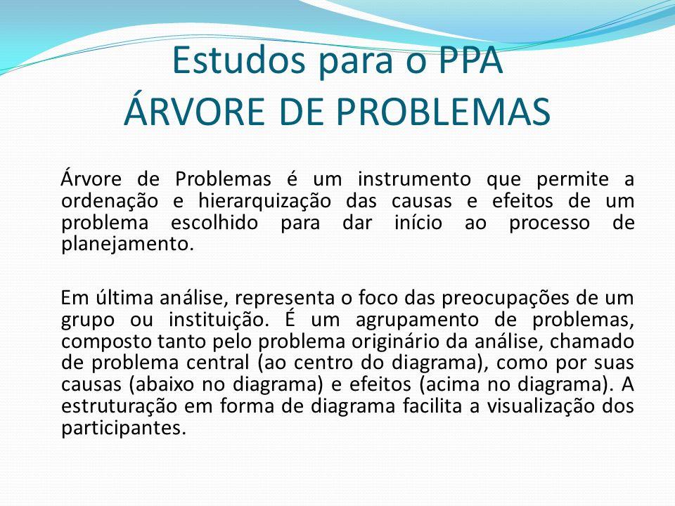 Estudos para o PPA ÁRVORE DE PROBLEMAS