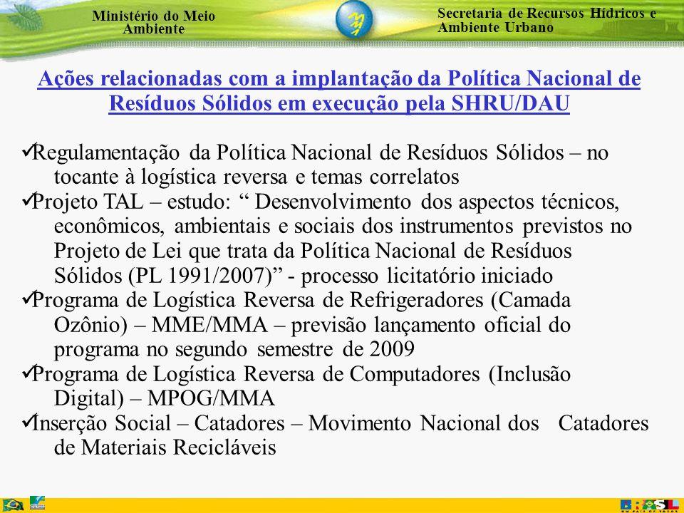 Ações relacionadas com a implantação da Política Nacional de Resíduos Sólidos em execução pela SHRU/DAU