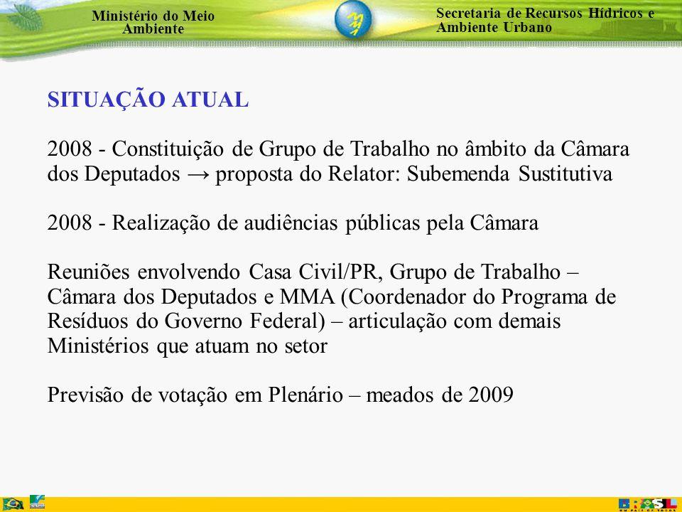 SITUAÇÃO ATUAL 2008 - Constituição de Grupo de Trabalho no âmbito da Câmara dos Deputados → proposta do Relator: Subemenda Sustitutiva.