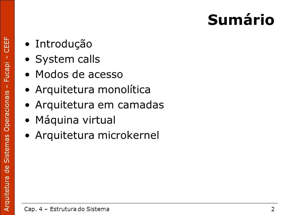 Sumário Introdução System calls Modos de acesso Arquitetura monolítica