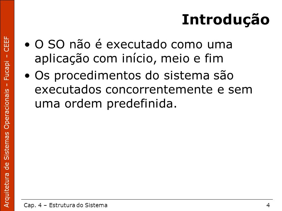 Introdução O SO não é executado como uma aplicação com início, meio e fim.