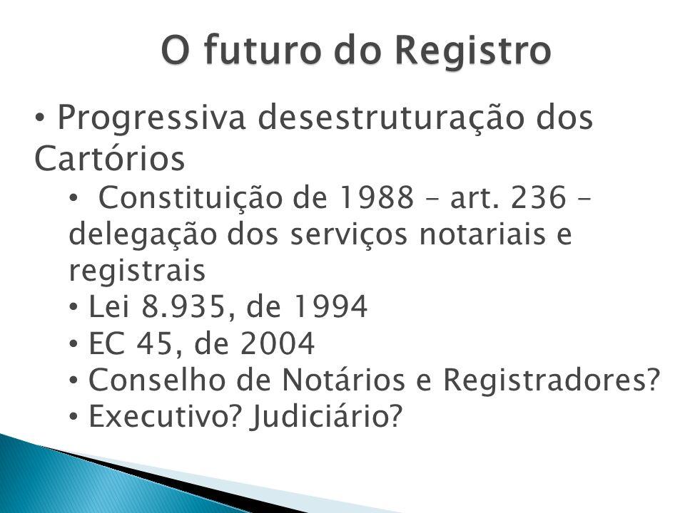 O futuro do Registro Progressiva desestruturação dos Cartórios