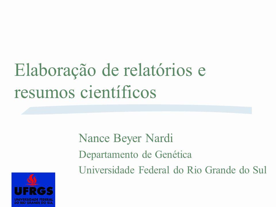 Elaboração de relatórios e resumos científicos