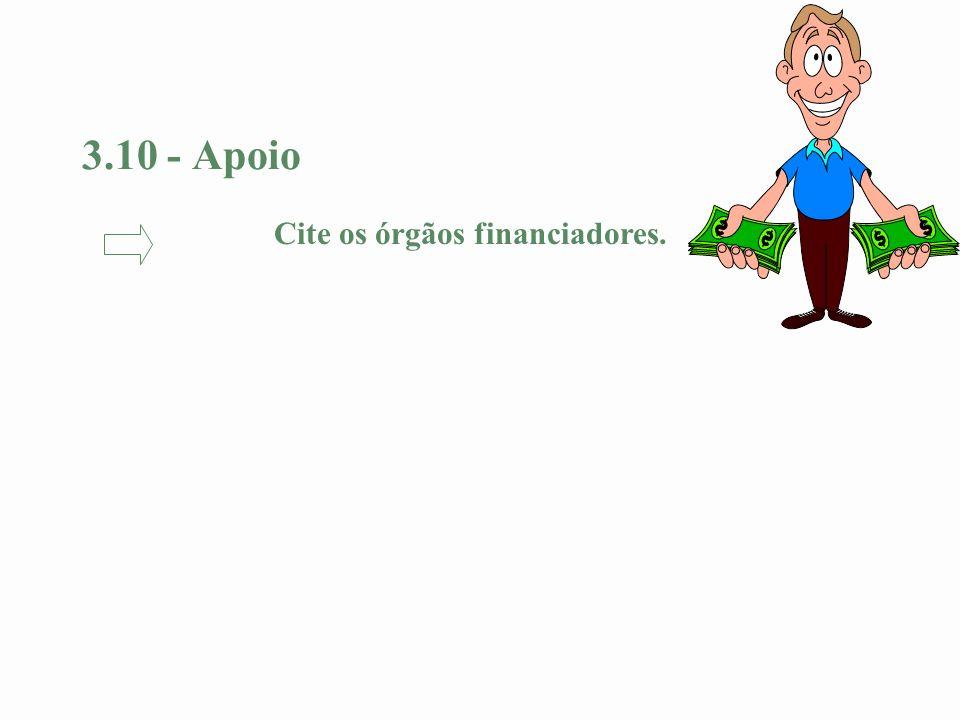 3.10 - Apoio Cite os órgãos financiadores.