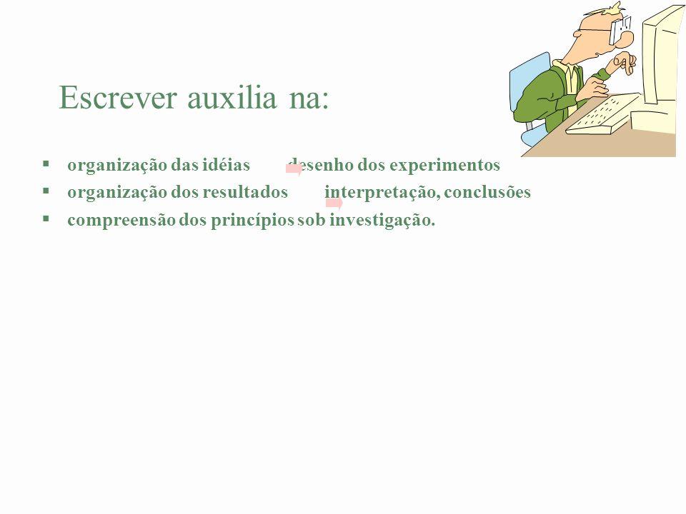 Escrever auxilia na: organização das idéias desenho dos experimentos