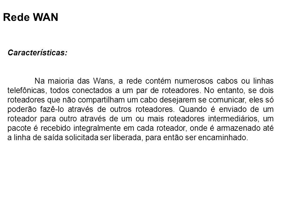 Rede WAN Características: