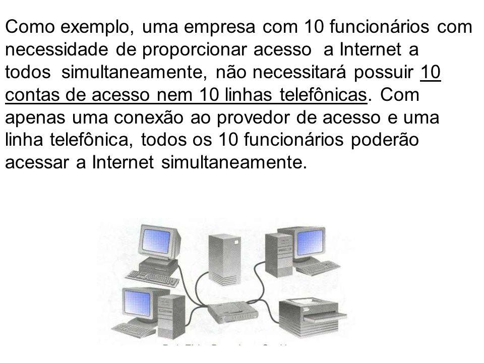 Como exemplo, uma empresa com 10 funcionários com necessidade de proporcionar acesso a Internet a todos simultaneamente, não necessitará possuir 10 contas de acesso nem 10 linhas telefônicas.