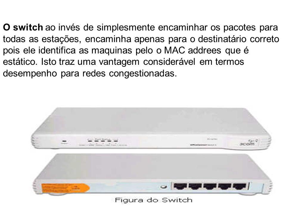 O switch ao invés de simplesmente encaminhar os pacotes para todas as estações, encaminha apenas para o destinatário correto pois ele identifica as maquinas pelo o MAC addrees que é estático.
