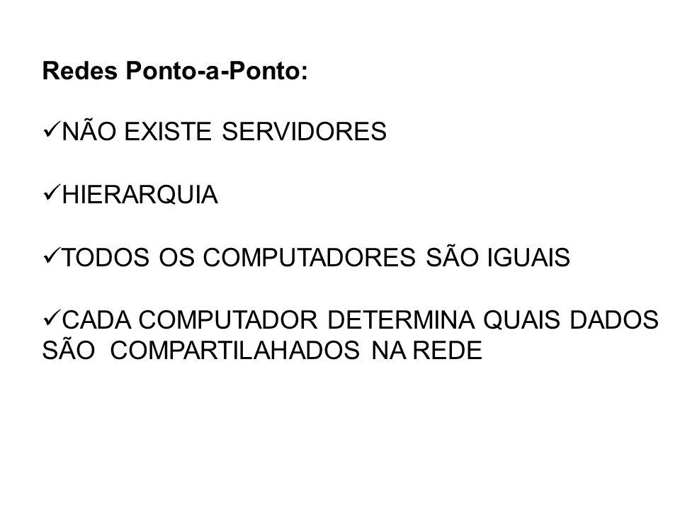 Redes Ponto-a-Ponto: NÃO EXISTE SERVIDORES. HIERARQUIA. TODOS OS COMPUTADORES SÃO IGUAIS.