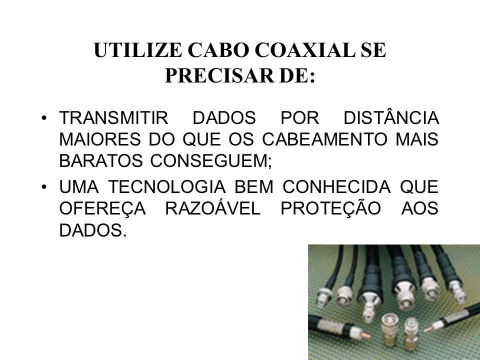 UTILIZE CABO COAXIAL SE PRECISAR DE: