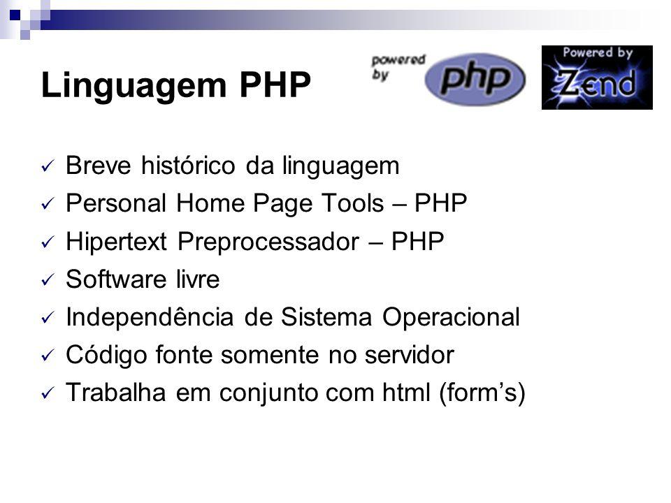 Linguagem PHP Breve histórico da linguagem