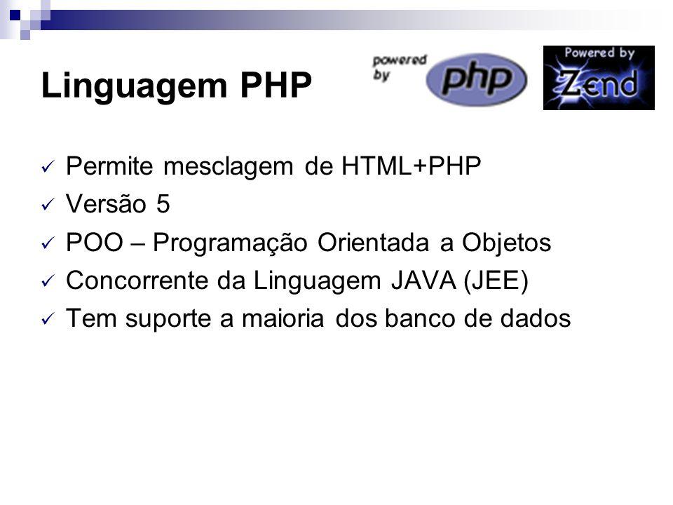 Linguagem PHP Permite mesclagem de HTML+PHP Versão 5