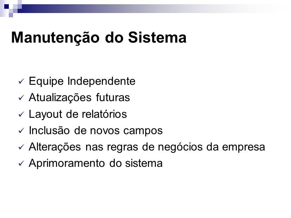 Manutenção do Sistema Equipe Independente Atualizações futuras
