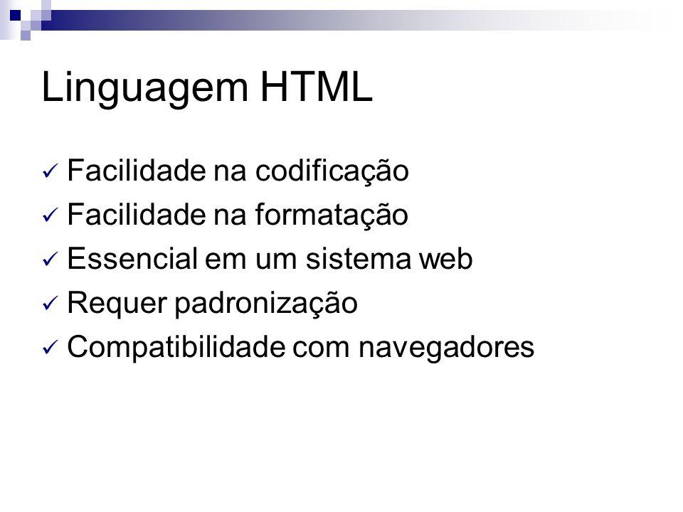 Linguagem HTML Facilidade na codificação Facilidade na formatação