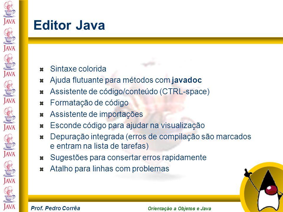 Editor Java Sintaxe colorida Ajuda flutuante para métodos com javadoc