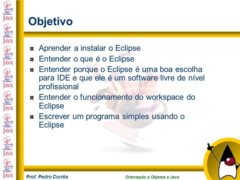 Objetivo Aprender a instalar o Eclipse Entender o que é o Eclipse