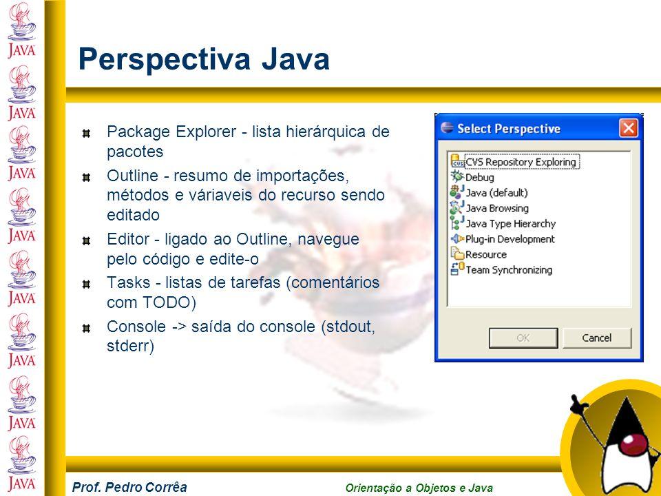 Perspectiva Java Package Explorer - lista hierárquica de pacotes
