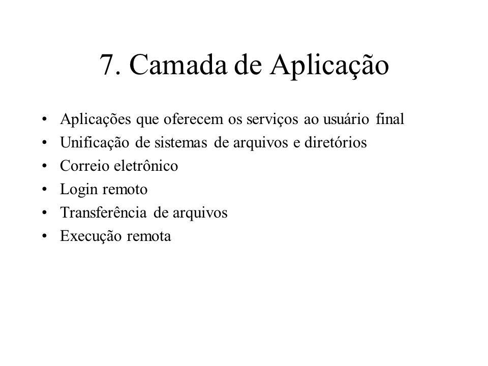 7. Camada de Aplicação Aplicações que oferecem os serviços ao usuário final. Unificação de sistemas de arquivos e diretórios.