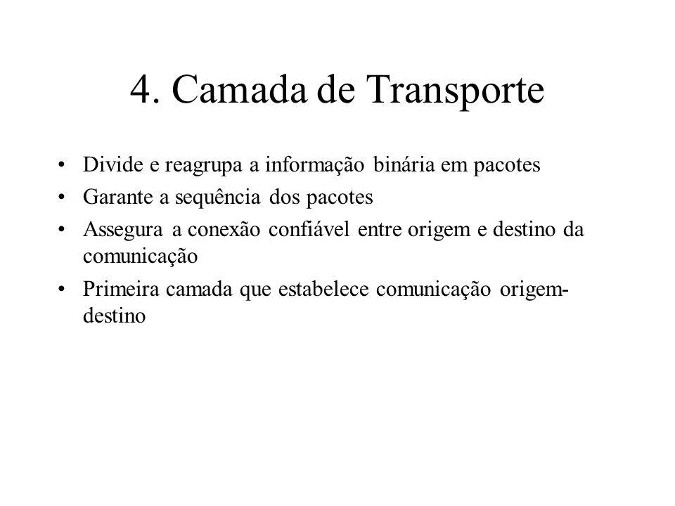 4. Camada de Transporte Divide e reagrupa a informação binária em pacotes. Garante a sequência dos pacotes.