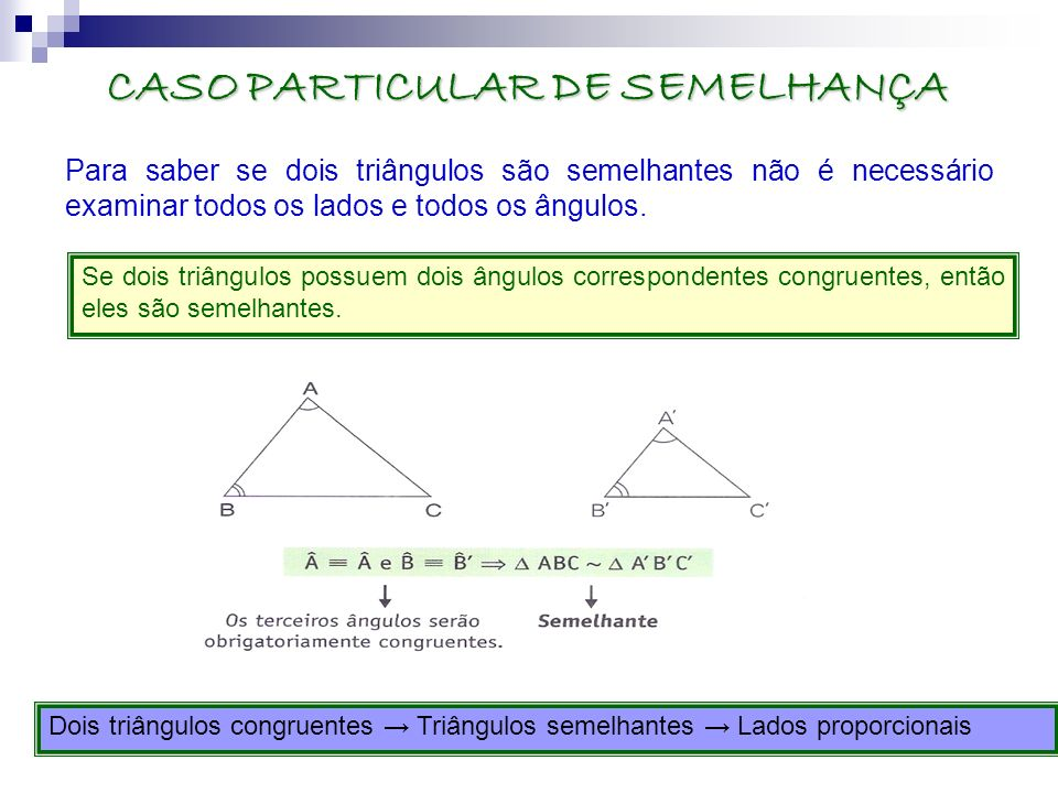 CASO PARTICULAR DE SEMELHANÇA