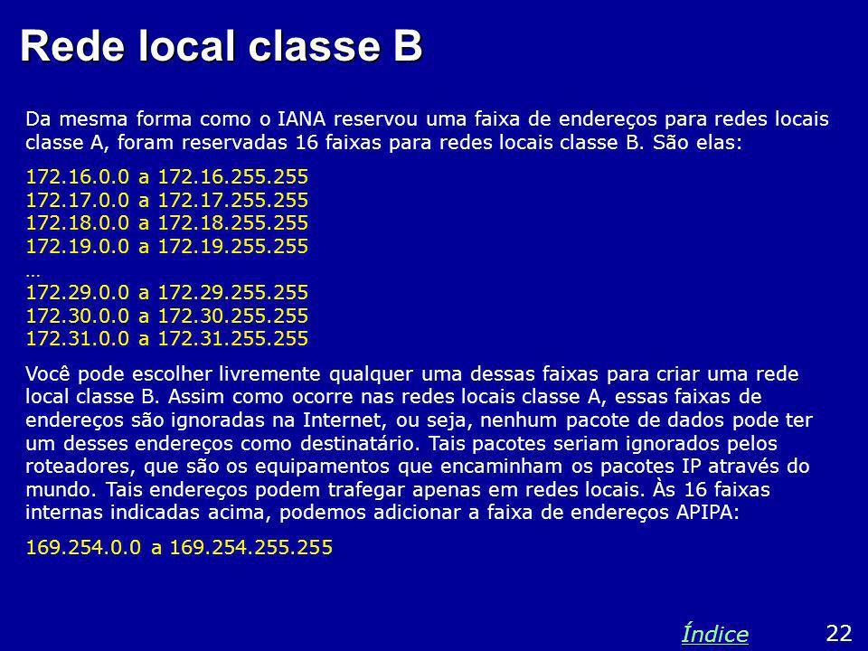Rede local classe B Índice 22