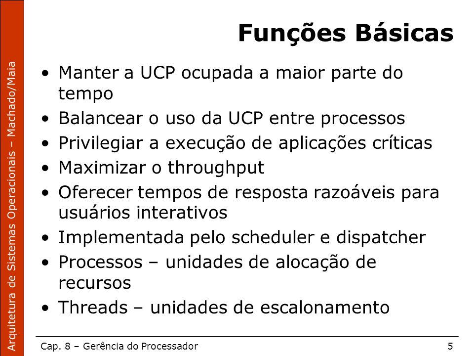 Funções Básicas Manter a UCP ocupada a maior parte do tempo