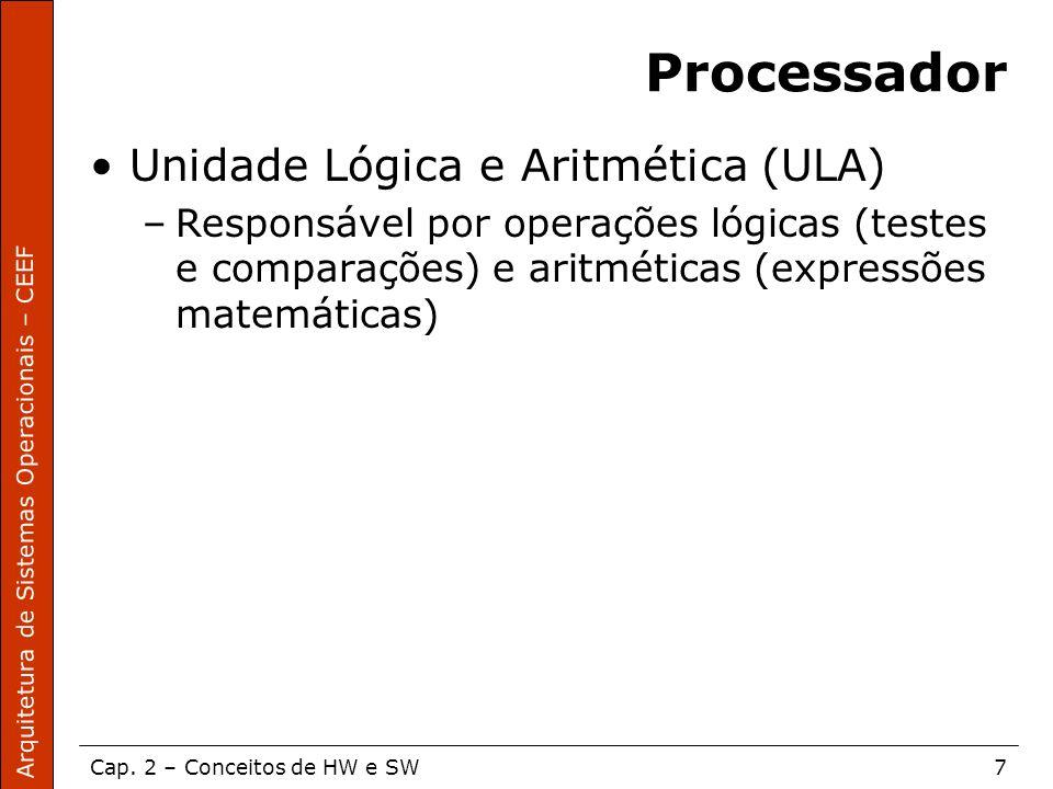 Processador Unidade Lógica e Aritmética (ULA)