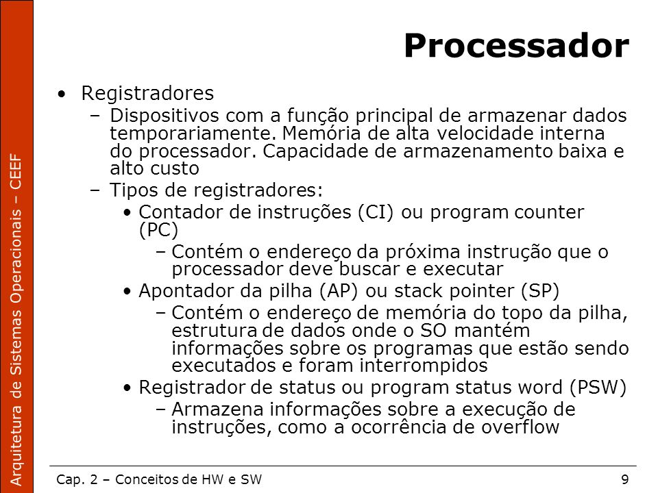Processador Registradores