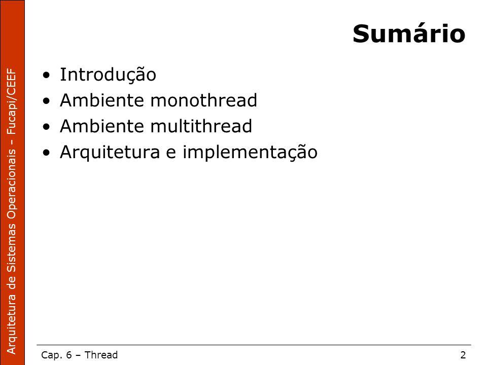 Sumário Introdução Ambiente monothread Ambiente multithread