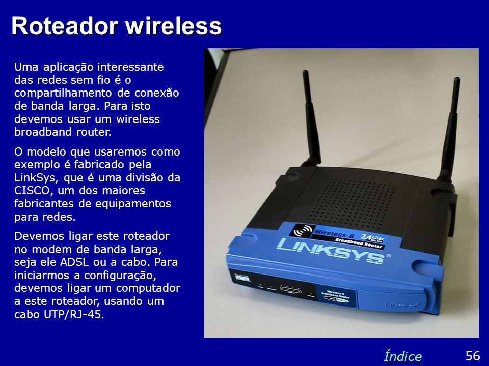 Roteador wireless Índice 56