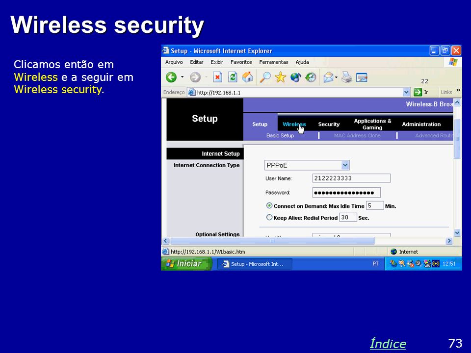 Wireless security Índice 73