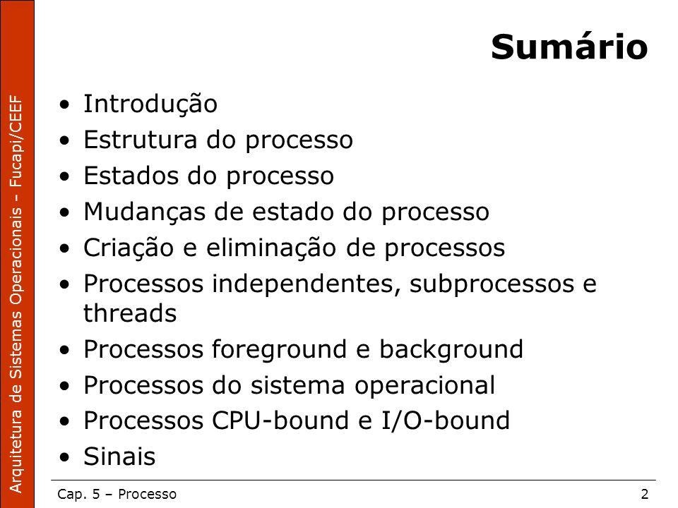 Sumário Introdução Estrutura do processo Estados do processo
