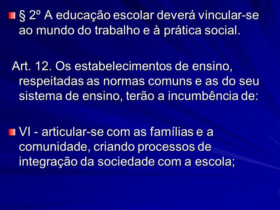§ 2º A educação escolar deverá vincular-se ao mundo do trabalho e à prática social.