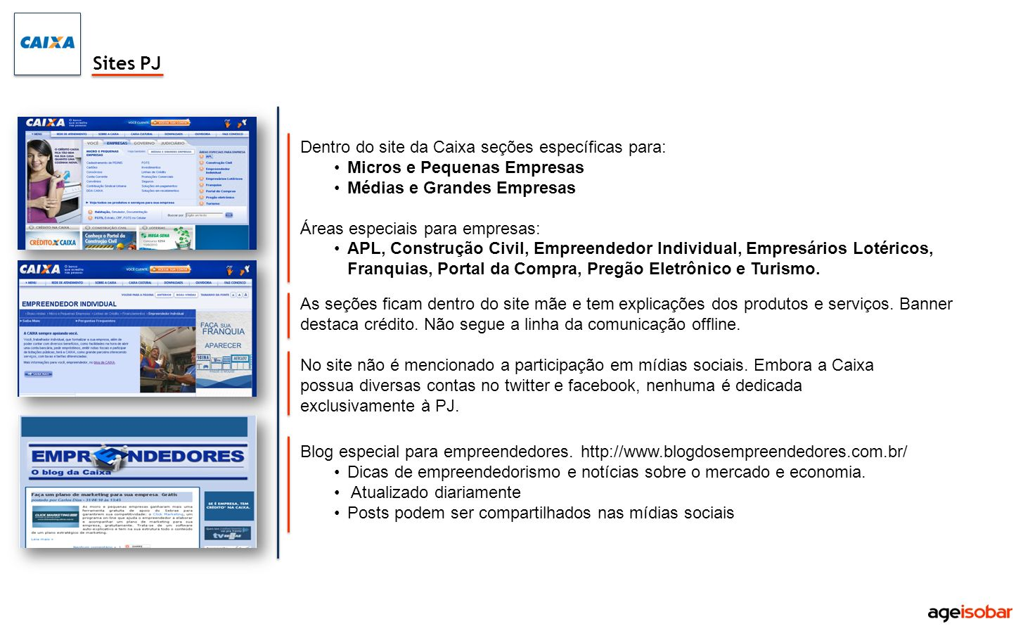 Sites PJ Dentro do site da Caixa seções específicas para: