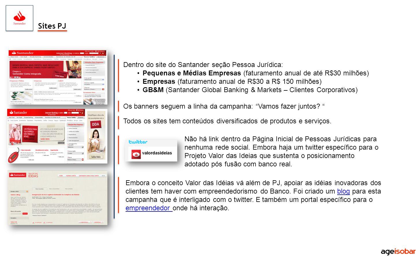 Sites PJ Dentro do site do Santander seção Pessoa Jurídica: