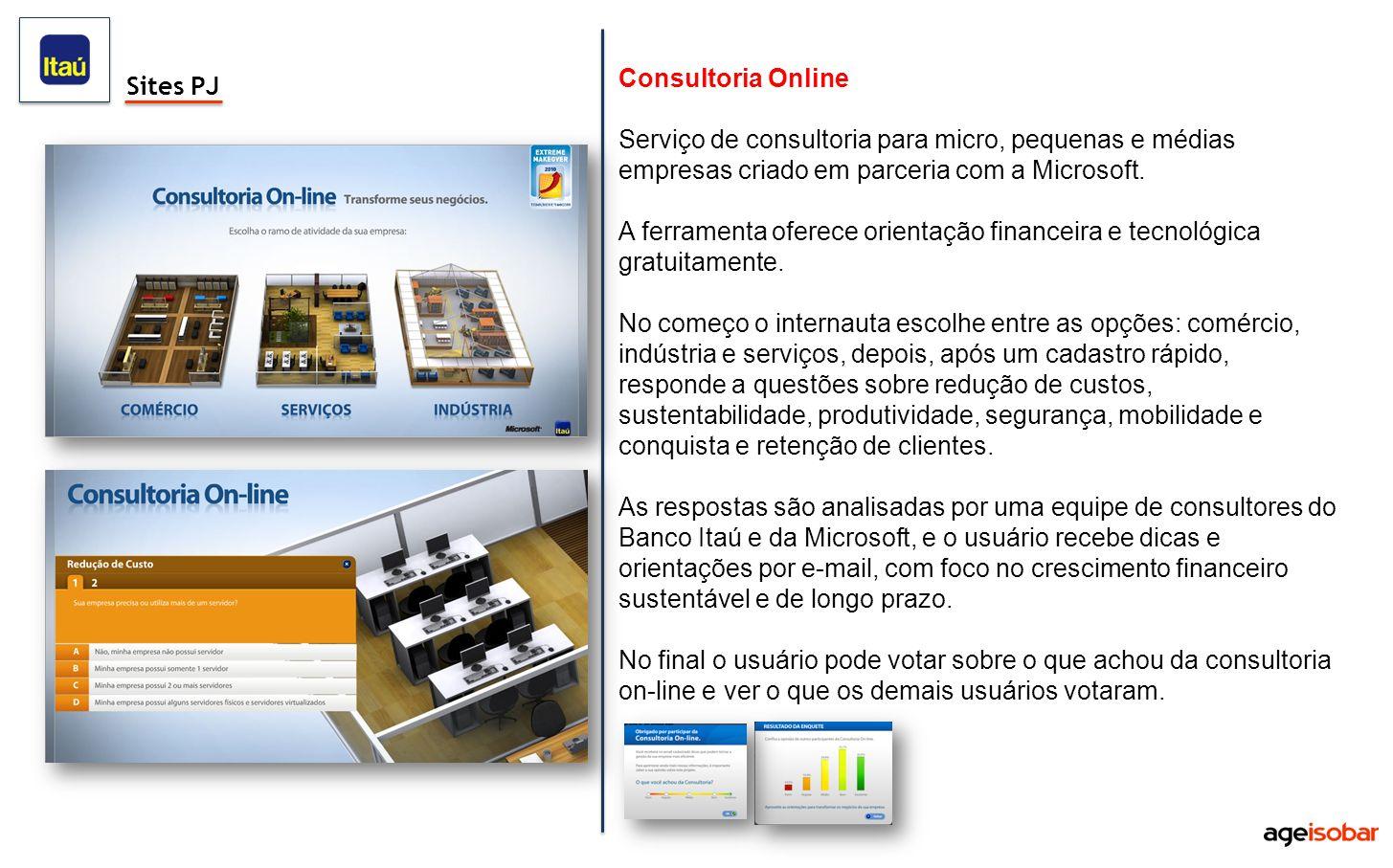 Consultoria Online Serviço de consultoria para micro, pequenas e médias empresas criado em parceria com a Microsoft.