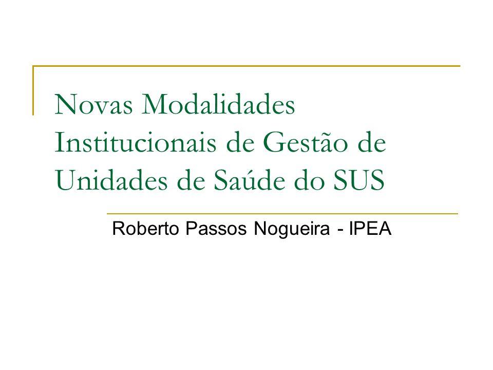 Novas Modalidades Institucionais de Gestão de Unidades de Saúde do SUS