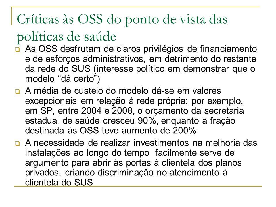 Críticas às OSS do ponto de vista das políticas de saúde