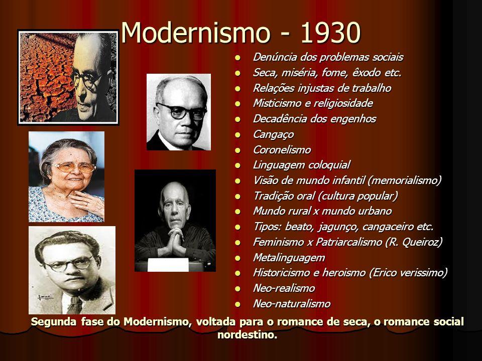 Modernismo - 1930 Denúncia dos problemas sociais