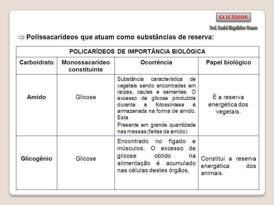  Polissacarídeos que atuam como substâncias de reserva: