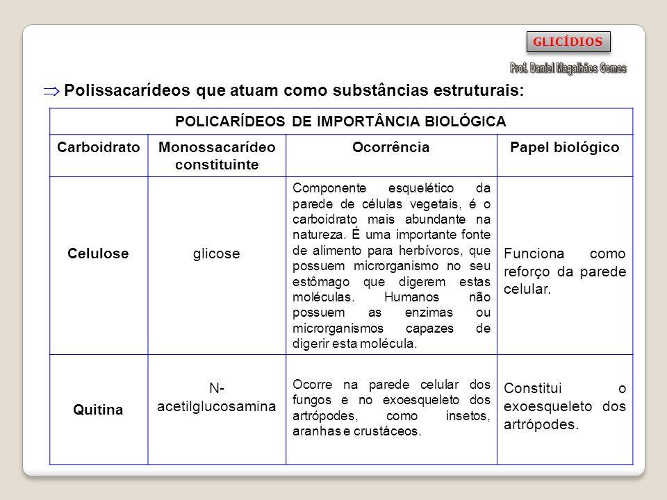  Polissacarídeos que atuam como substâncias estruturais: