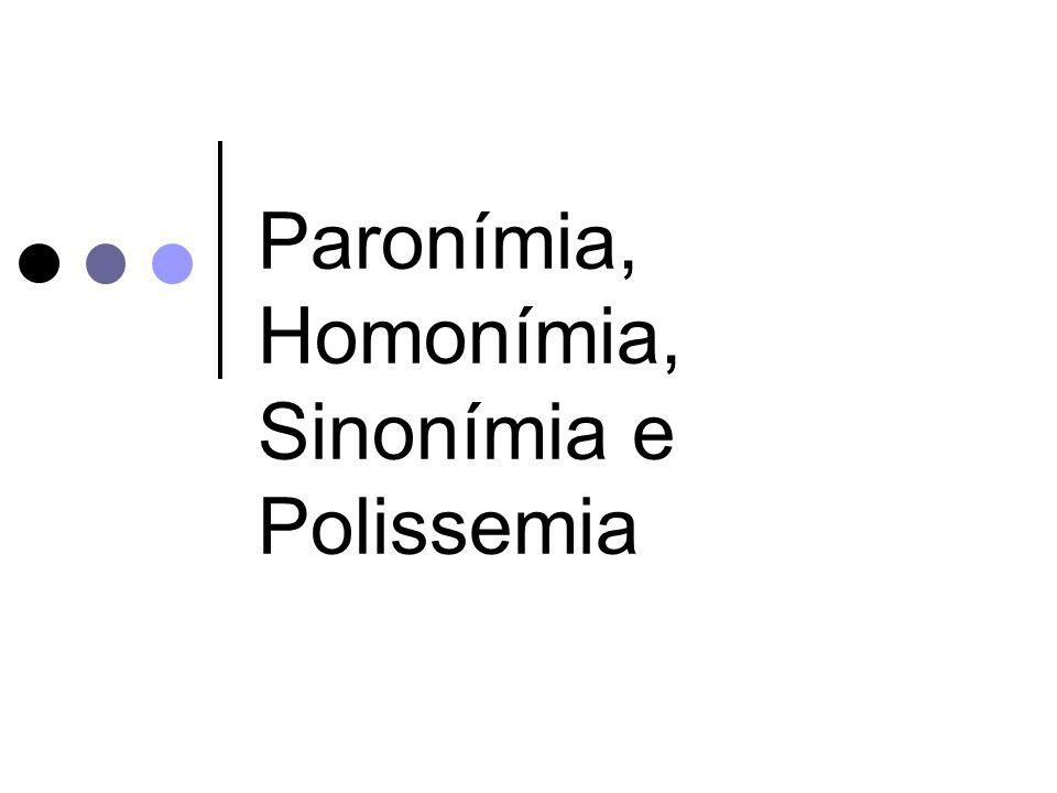 Paronímia, Homonímia, Sinonímia e Polissemia